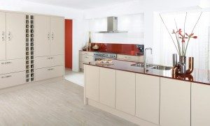Modern white and red fitted kitchen