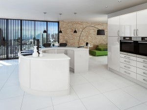 Modern shiny white fitted kitchen