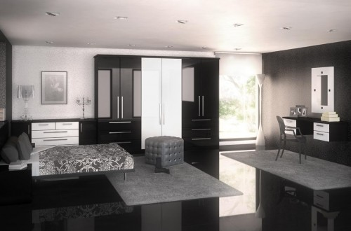 Modern black and white fitted bedroom