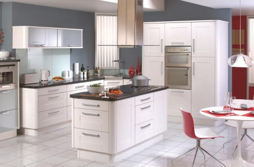 Modern white sleek fitted kitchen