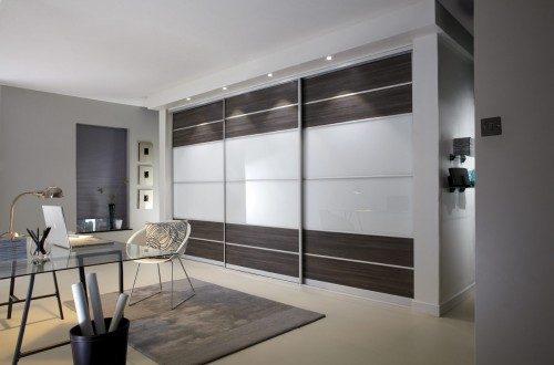 Grey, brown, avola, pure white sliding door wardrobe