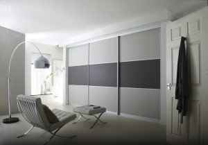 Light and dark grey suede sliding door wardrobe