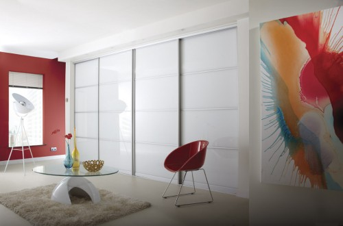 Pure white sliding door wardrobe